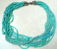 Vintage Style Turquoise Bead Multi Strand Necklace.
